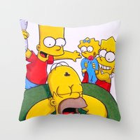 simpsons Throw Pillows featuring Simpsons by Brian David