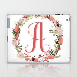 Personal monogram letter 'A' flower wreath Laptop & iPad Skin