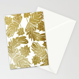 golden tropical floral watercolor Stationery Cards