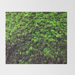 Dark Green Moss Throw Blanket