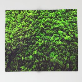 Dark Green Moss Throw Blanket