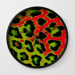 Red and Apple Green Leopard Spots Wall Clock