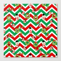 cartoons Canvas Prints featuring Festive Christmas Cartoons on Chevron Pattern by Kirsten Star