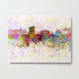 Geneva skyline in watercolor background Metal Print