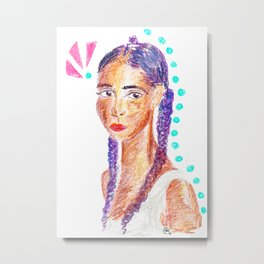 Portrait of a Gal in Crayon with Purple Braids Metal Print