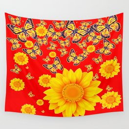 YELLOW SUNFLOWER MONACH BUTTERFLY PATTERNS RED ART Wall Tapestry