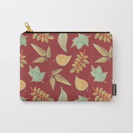 Yellow Autumn Leaves, Warm Colors  Crayon Drawing Carry-All Pouch
