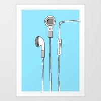 headphones Art Prints featuring HEADPHONES by R.Bongiovani