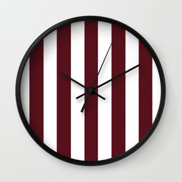 Chocolate cosmos purple - solid color - white vertical lines pattern Wall Clock