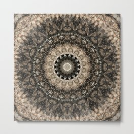 Dark Brown Boho Mandala Metal Print