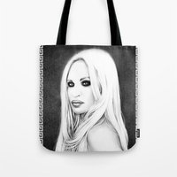 versace Tote Bags featuring Donatella Versace by Denda Reloaded