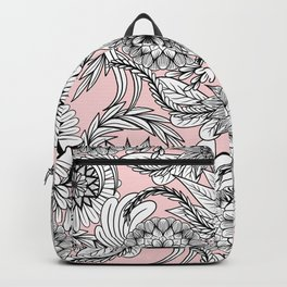 Girly Modern Pink Black White Floral Drawings Backpack