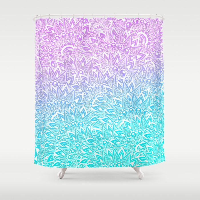 Purple And Teal Shower Curtain. White mandala henna pattern illustration Mermaid purple turquoise  watercolor floral Shower Curtain