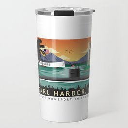 Pearl Harbor, HI - Retro Submarine Travel Poster Travel Mug