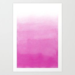 Candy Pink Watercolor Ombre  Art Print