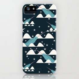 narwhal in ocean blue iPhone Case