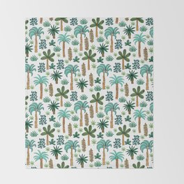 Tropics palm trees pattern print summer tropical vacation design by andrea lauren Throw Blanket