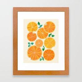 Orange Slices With Blossoms Framed Art Print