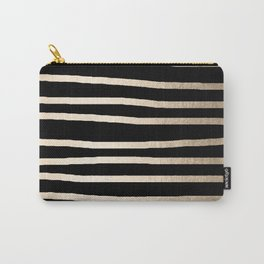 Simply Drawn Stripes White Gold Sands on Midnight Black Carry-All Pouch
