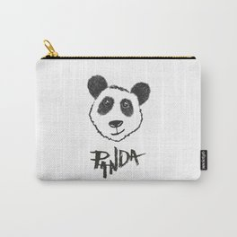 Cute Black and White Hand Drawn Panda Typography Carry-All Pouch