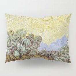 Vincent van Gogh - Olive Trees with Yellow Sky and Sun Pillow Sham