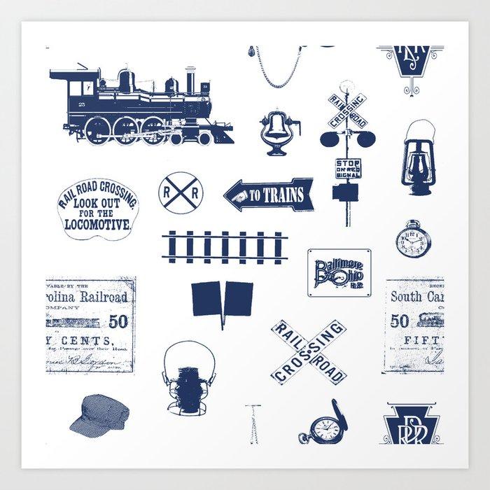 Railroad Symbols // Navy Blue Kunstdrucke