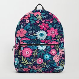 Amazing floral pattern with bright colorful flowerson a dark blue background Backpack