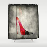 shoe Shower Curtains featuring Painted Shoe by V.L. Durand