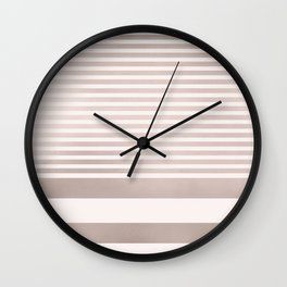Rose Gold and Pink Stripes Mix Pattern Wall Clock