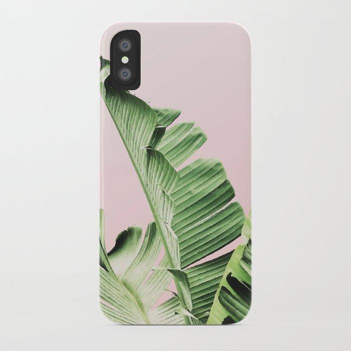 Banana Leaf on pink iPhone Case