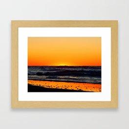 Orange Sunset on the Beach Framed Art Print