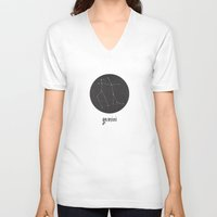 gemini V-neck T-shirts featuring Gemini by snaticky
