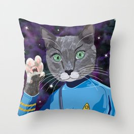 Mr. Spock Kitty - Live long and prospurr! Throw Pillow