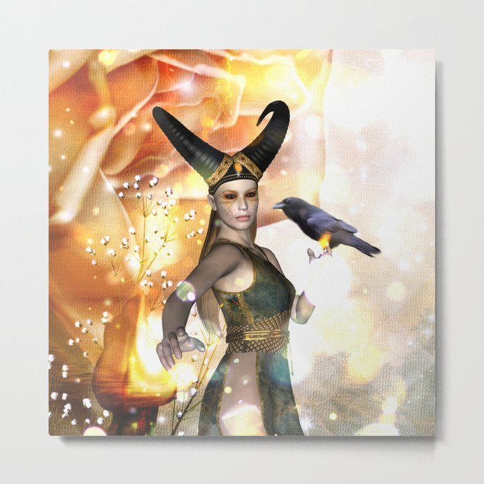 Beautiful dark fairy with crow Metal Print