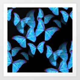 Turquoise Blue Tropical Butterflies Black Background #decor #society6 #buyart Art Print