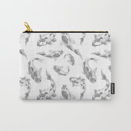 Cute gray white watercolor oriental koi fish pattern Carry-All Pouch