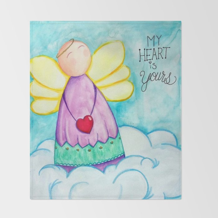 February Angel - My Heart is Yours Throw Blanket