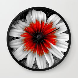 Flower | Flowers | Red Stroke Gaillardia | Red and White Flower | Nadia Bonello Wall Clock