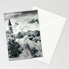 Old French village in countryside Mont Blanc mountains vintage styled Stationery Cards