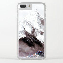 Panoramic View Of Everest Mountain Painting Clear iPhone Case