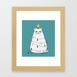 Grumpy Christmas Cat Framed Art Print