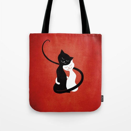 White And Black Cats In Love (red) Tote Bag