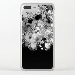 paint splatter on gradient pattern bwmwi Clear iPhone Case