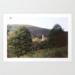 The Watchtower at Glendalough Art Print