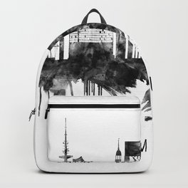 Hamburg Germany Skyline BW Backpack