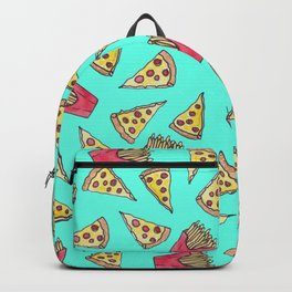 Pepperoni Pizza French Fries Foodie Watercolor Pattern Backpack