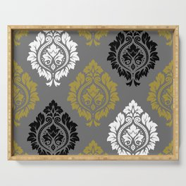 Decorative Damask Pattern BW Gray Gold Serving Tray