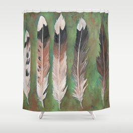 Killdeer feathers green rust background Shower Curtain