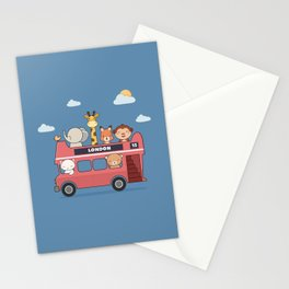 Kawaii Cute Zoo Animals On A London Bus Stationery Cards