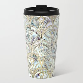 Pale Bright Mint and Sage Art Deco Marbling Travel Mug